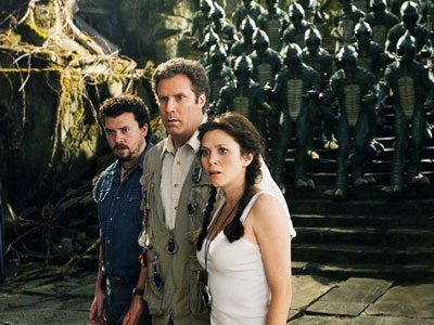 Will Ferrell, Danny McBride and Anna Friel Land of the Lost movie
